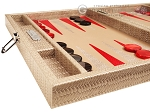 picture of Hector Saxe Braided Leather Travel Backgammon Set - Taupe (5 of 12)