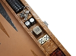picture of Hector Saxe Arizona Leather Travel Backgammon Set - Cognac (4 of 6)