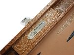 picture of Hector Saxe Arizona Leather Travel Backgammon Set - Cognac (5 of 6)