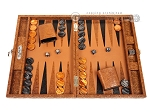 Hector Saxe Arizona Leather Travel Backgammon Set - Cognac - Item: 3871