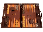 Hector Saxe Epi Leatherette Backgammon Set - Brown - Item: 3887