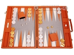 Hector Saxe Epi Leatherette Backgammon Set - Orange - Item: 3888