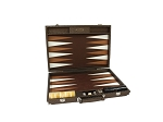Hector Saxe Cosmos Linen Backgammon Set - Brown - Item: 3881