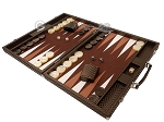 Hector Saxe Cosmos Linen Backgammon Set - Brown