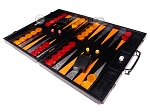 picture of Hector Saxe Croco Leather Backgammon Set - Black - Oriflamme I (3 of 12)