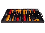 picture of Hector Saxe Croco Leather Backgammon Set - Black - Oriflamme I (4 of 12)