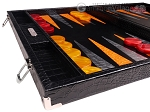picture of Hector Saxe Croco Leather Backgammon Set - Black - Oriflamme I (5 of 12)