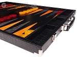 picture of Hector Saxe Croco Leather Backgammon Set - Black - Oriflamme I (6 of 12)