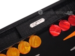 picture of Hector Saxe Croco Leather Backgammon Set - Black - Oriflamme I (7 of 12)