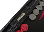 picture of Hector Saxe Braided Leather Backgammon Set - Black (3 of 6)