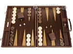 Hector Saxe Braided Leather Backgammon Set - Moka - Item: 3873