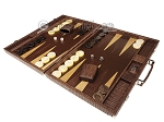 picture of Hector Saxe Braided Leather Backgammon Set - Moka (3 of 12)