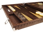 picture of Hector Saxe Braided Leather Backgammon Set - Moka (5 of 12)