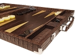 picture of Hector Saxe Braided Leather Backgammon Set - Moka (6 of 12)