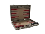 Hector Saxe Braided Leather Backgammon Set - Taupe - Item: 3875