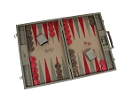 picture of Hector Saxe Braided Leather Backgammon Set - Taupe (2 of 6)