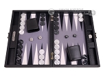 Hector Saxe Carbon Linen/Felt Travel Backgammon Set - Black - Item: 3146