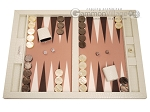 Hector Saxe Croco Leatherette Tabletop Backgammon Set - Ivory - Item: 2739