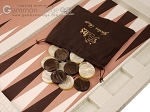 Hector Saxe Croco Leatherette Tabletop Backgammon Set - Ivory