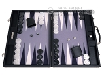 Hector Saxe Carbon Linen/Felt Backgammon Set - Black - Item: 3145