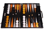 Hector Saxe Croco Leather Backgammon Set - Black - Oriflamme II - Item: 3149