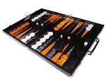 picture of Hector Saxe Croco Leather Backgammon Set - Black - Oriflamme II (3 of 12)