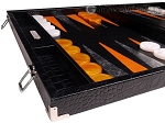 picture of Hector Saxe Croco Leather Backgammon Set - Black - Oriflamme II (5 of 12)