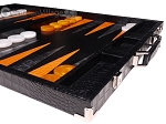 picture of Hector Saxe Croco Leather Backgammon Set - Black - Oriflamme II (6 of 12)