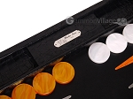 picture of Hector Saxe Croco Leather Backgammon Set - Black - Oriflamme II (8 of 12)