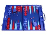 Hector Saxe Leatherette Backgammon Set - Pacific Blue - Item: 3143