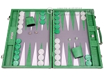 Hector Saxe Croco Leather Backgammon Set - Green - Item: 3151