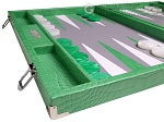 picture of Hector Saxe Croco Leather Backgammon Set - Green (5 of 12)