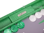 picture of Hector Saxe Croco Leather Backgammon Set - Green (8 of 12)
