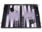 Hector Saxe Faux Leather Backgammon Set - Grey Field - Item: 2505