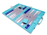 picture of Hector Saxe Croco Leather Backgammon Set - Turquoise (3 of 12)