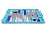 picture of Hector Saxe Croco Leather Backgammon Set - Turquoise (4 of 12)