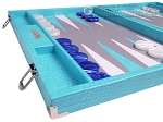 picture of Hector Saxe Croco Leather Backgammon Set - Turquoise (5 of 12)