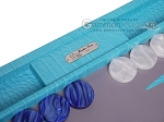 picture of Hector Saxe Croco Leather Backgammon Set - Turquoise (7 of 12)
