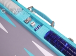 picture of Hector Saxe Croco Leather Backgammon Set - Turquoise (8 of 12)