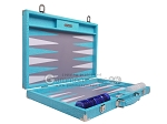 picture of Hector Saxe Croco Leather Backgammon Set - Turquoise (10 of 12)