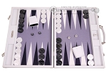 Hector Saxe Carbon Linen/Felt Backgammon Set - White - Item: 3147