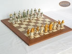 The Battle of Kazan Chessmen with Spanish Traditional Chess Board [Extra Large] - Item: 867