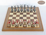 Magnificent Chessmen with Spanish Mosaic Chess Board