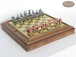 Magnificent Chessmen with Italian Brass Board with Storage - Item: 880