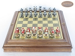 Magnificent Chessmen with Italian Brass Board with Storage