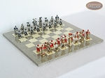Magnificent Chessmen with Spanish Lacquered Board [Grey] - Item: 889