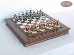 Magnificent Chessmen with Italian Alabaster Chess Board with Storage - Item: 885