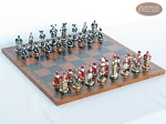 Magnificent Chessmen with Patterned Italian Leatherette Chess Board - Item: 881