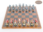 picture of Magnificent Chessmen with Patterned Italian Leatherette Chess Board (3 of 8)