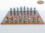 picture of Magnificent Chessmen with Patterned Italian Leatherette Chess Board (4 of 8)